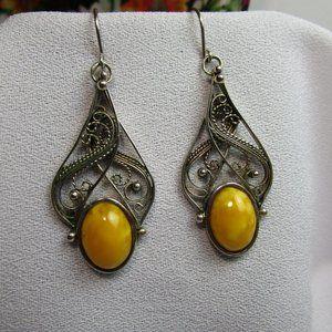 Vintage Yellow Jasper Silver Filigree Earrings